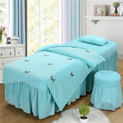 2019新款刺绣-水晶绒 宝宝绒美容院按摩床罩 被套(120*180尺寸) 蝴蝶-天蓝
