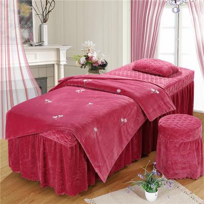 2019新款刺绣-水晶绒 宝宝绒美容院按摩床罩 被套(120*180尺寸) 小雏菊-红豆沙