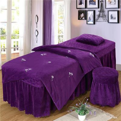 2019新款刺绣-水晶绒 宝宝绒美容院按摩床罩 被套(120*180尺寸) 小雏菊-深紫