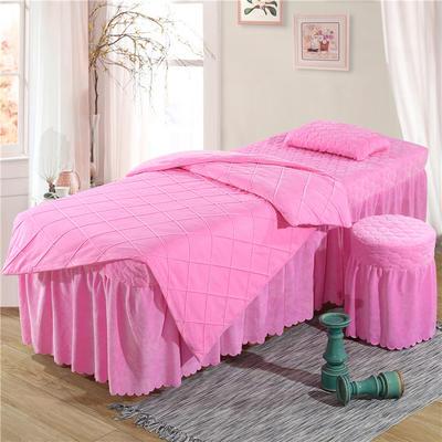 2019新款格子-水晶绒 宝宝绒美容床罩四件套 圆头四件套 (70*185) 粉色