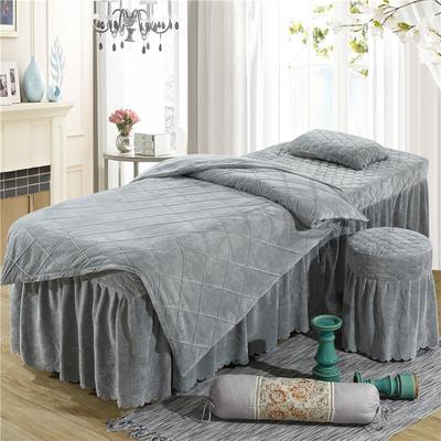 2019新款格子-水晶绒 宝宝绒美容床罩四件套 被套 (120*180尺寸) 灰色