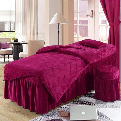 2019新款格子-水晶绒 宝宝绒美容床罩四件套 被套 (120*180尺寸) 酒红色