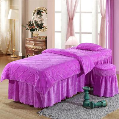 2019新款格子-水晶绒 宝宝绒美容床罩四件套 圆头四件套 (70*185) 浅紫