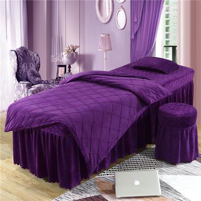 2019新款格子-水晶绒 宝宝绒美容床罩四件套 被套 (120*180尺寸) 深紫