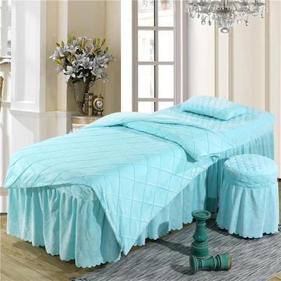 2019新款格子-水晶绒 宝宝绒美容床罩四件套 被套 (120*180尺寸) 天蓝