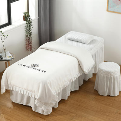 2019新款韩版刺绣款美容床罩四件套 圆头四件套 (70*185) 白色