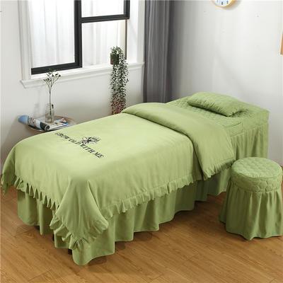2019新款韩版刺绣款美容床罩四件套 圆头四件套 (70*185) 豆绿