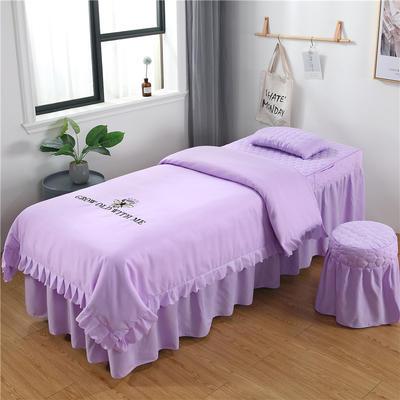 2019新款韩版刺绣款美容床罩四件套 圆头四件套 (70*185) 浅紫