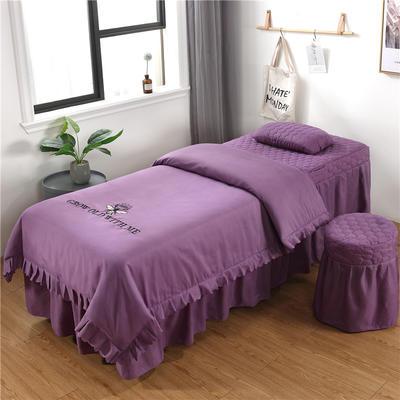 2019新款韩版刺绣款美容床罩四件套 圆头四件套 (70*185) 香槟紫