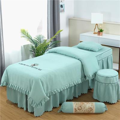 2019新款韩版棉麻刺绣美容床罩四件套 圆头四件套 (70*185) 翠绿