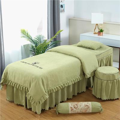 2019新款韩版棉麻刺绣美容床罩四件套 圆头四件套 (70*185) 豆绿