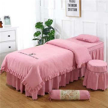 2019新款韩版棉麻刺绣美容床罩四件套