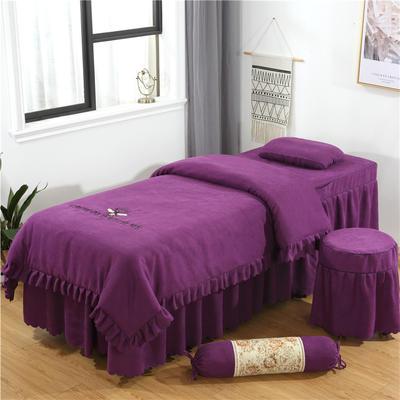 2019新款韩版棉麻刺绣美容床罩四件套 圆头四件套 (70*185) 深紫