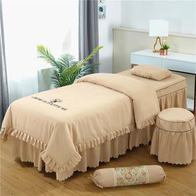 2019新款韩版棉麻刺绣美容床罩四件套 圆头四件套 (70*185) 驼色