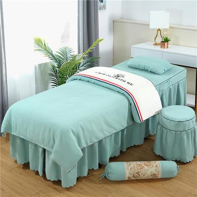 2019新款棉麻刺绣双拼美容床罩四件套 圆头四件套 (70*185) 白+翠绿