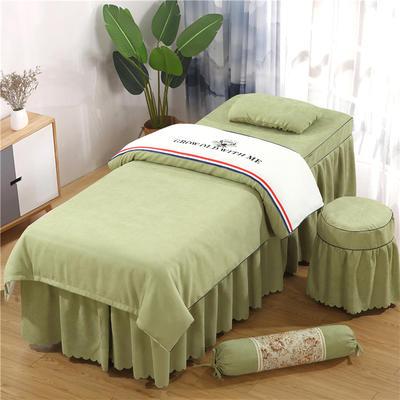 2019新款棉麻刺绣双拼美容床罩四件套 圆头四件套 (70*185) 白+豆绿
