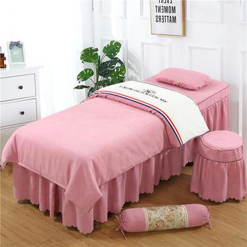 2019新款棉麻刺绣双拼美容床罩四件套