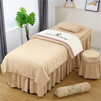 2019新款全棉棉麻刺绣双拼美容床罩四件套 棉麻糖果枕:只 白+驼色