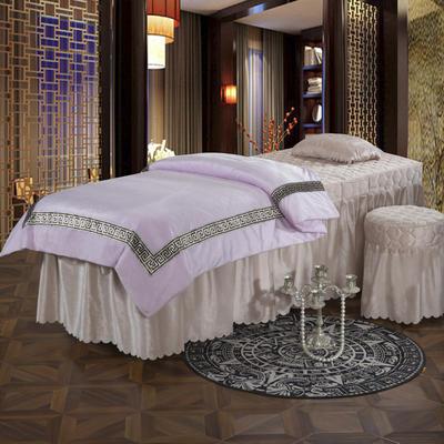 2019新款水晶绒超柔美容床罩四件套 圆头四件套 (70*185) 绒浅紫+驼