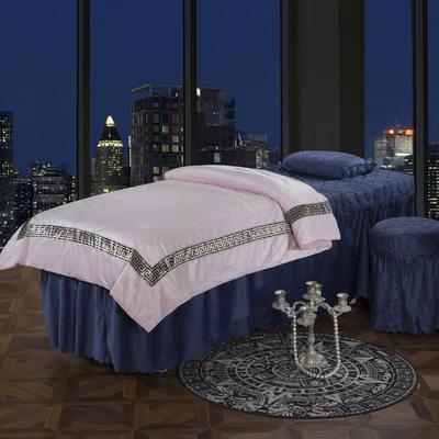 2019新款水晶绒超柔美容床罩四件套 圆头四件套 (70*185) 绒玉+蓝