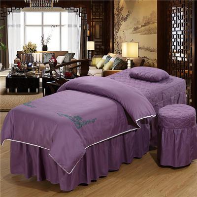 2019新款3D刺绣 美容床罩四件套 枕心:(同枕套配搭尺寸   不单拍) 香槟紫