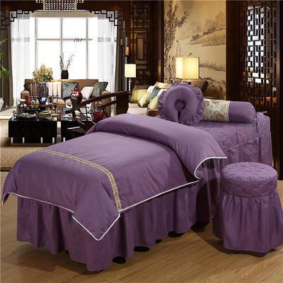 2019新款3D花边美容床罩四件套 枕心:(同枕套配搭尺寸   不单拍) 香槟紫