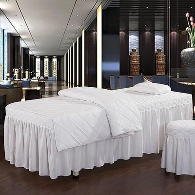 2019新款时尚格子纯色磨毛美容床罩 方头四件套 (80*190cm) 白