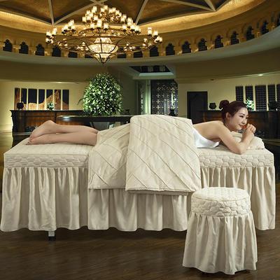 2019新款时尚格子纯色磨毛美容床罩 方头四件套 (80*190cm) 米驼