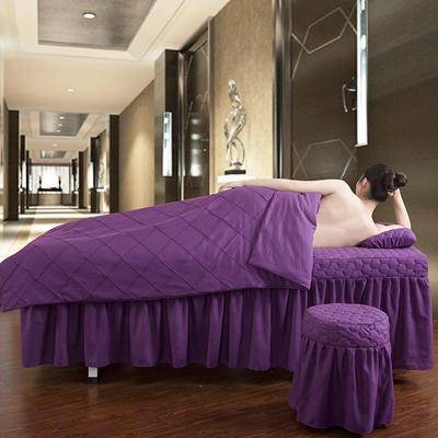 2019新款时尚格子纯色磨毛美容床罩 方头四件套 (80*190cm) 深紫