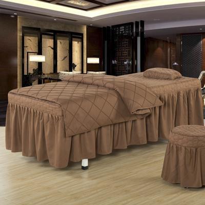 2019新款时尚格子纯色磨毛美容床罩 方头四件套 (80*190cm) 时尚格子咖啡