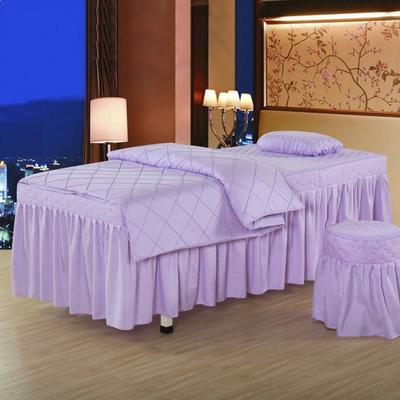 2019新款时尚格子纯色磨毛美容床罩 方头四件套 (80*190cm) 时尚格子浅紫