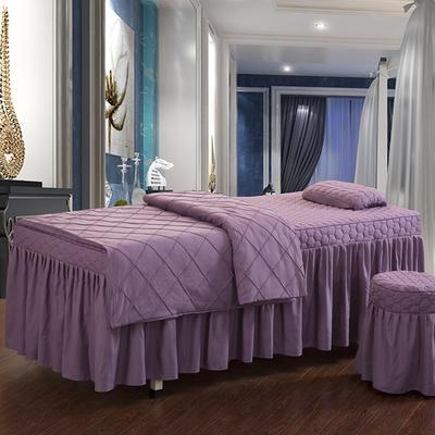 2019新款时尚格子纯色磨毛美容床罩 方头四件套 (80*190cm) 香槟紫