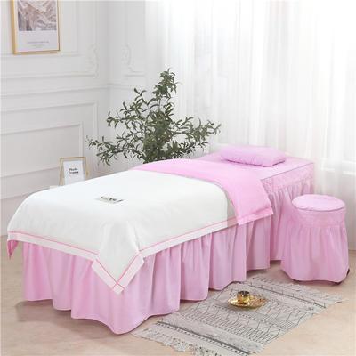 2019新款天丝全棉美容床罩四件套 单被套:110*170尺寸 天丝-白+粉