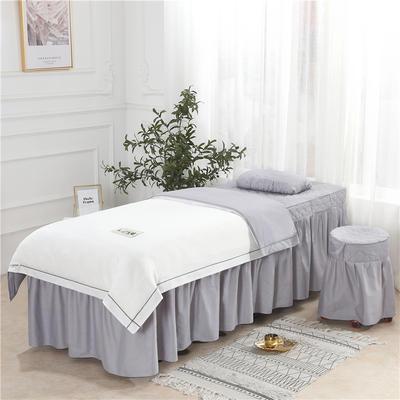 2019新款天丝全棉美容床罩四件套 单被套:110*170尺寸 天丝-白+灰