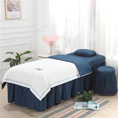 2019新款天丝全棉美容床罩四件套 单被套:110*170尺寸 天丝-白+蓝