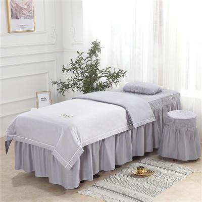 2019新款天丝全棉美容床罩四件套 单被套:110*170尺寸 天丝-灰色