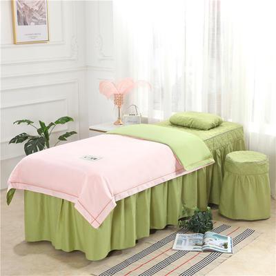 2019新款天丝全棉美容床罩四件套 单被套:110*170尺寸 天丝-玉+豆绿