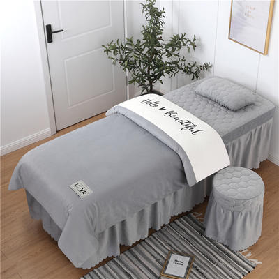 2019新款刺绣双拼love水晶绒美容床罩四件套 单被套(115*175尺寸) 白+灰