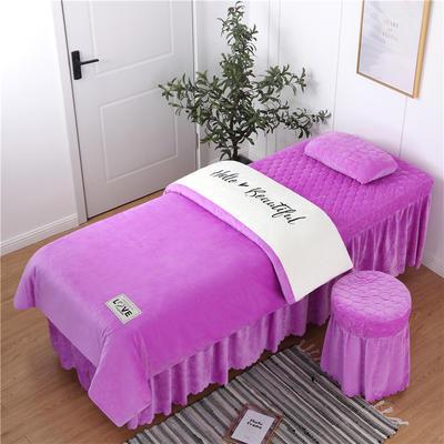 2019新款刺绣双拼love水晶绒美容床罩四件套 单被套(115*175尺寸) 白+浅紫