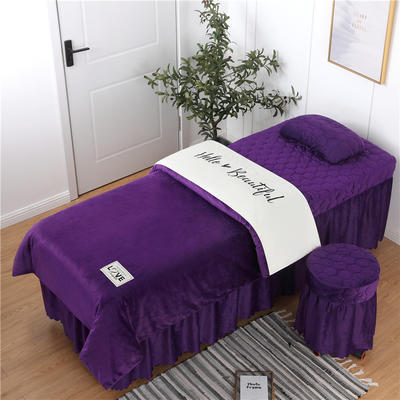 2019新款刺绣双拼love水晶绒美容床罩四件套 单被套(115*175尺寸) 白+深紫