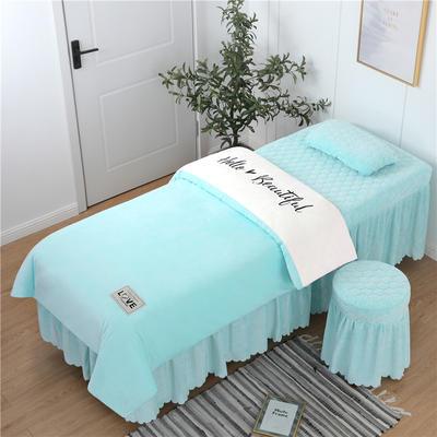 2019新款刺绣双拼love水晶绒美容床罩四件套 单被套(115*175尺寸) 白+天兰