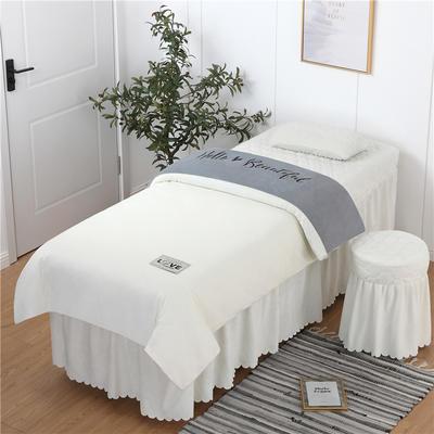 2019新款刺绣双拼love水晶绒美容床罩四件套 单被套(115*175尺寸) 灰+白