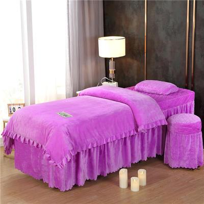 2019新款韩版公主风花边水晶绒美容床罩四件套 圆头四件套 (70*185) 浅紫