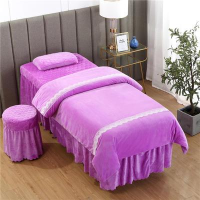 2019新款韩式蕾丝花边水晶绒美容床罩四件套 圆头四件套 (70*185) 浅紫