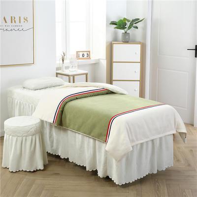 2019新款式简约棉麻水晶绒美容床罩四件套 圆头四件套 (70*185) 棉麻绒-豆绿+白