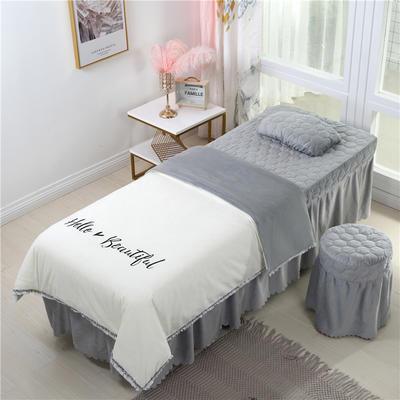2019新款式流苏花边刺绣水晶绒美容床罩四件套 单被套(115*175尺寸) 白+灰