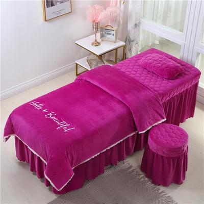 2019新款式流苏花边刺绣水晶绒美容床罩四件套 单被套(115*175尺寸) 红雪青