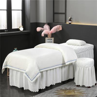 2019新款压线款水晶绒美容床罩四件套 圆头四件套 (70*185) 白色
