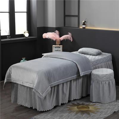 2019新款压线款水晶绒美容床罩四件套 圆头四件套 (70*185) 灰色