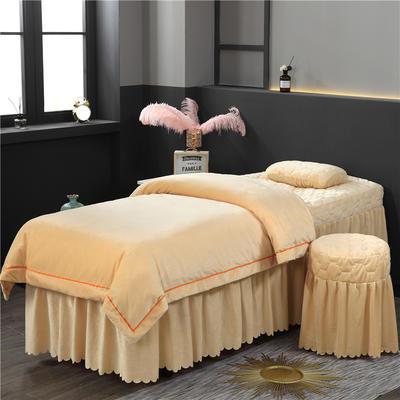 2019新款压线款水晶绒美容床罩四件套 圆头四件套 (70*185) 驼色